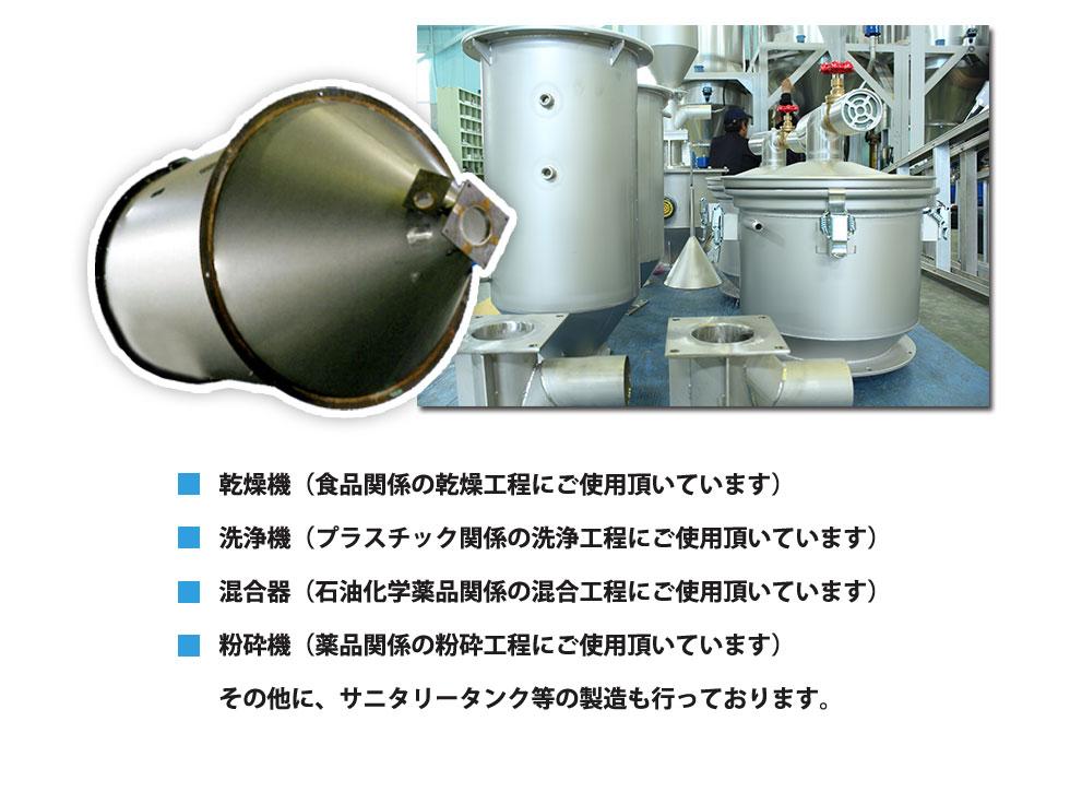 乾燥機(食品関係の乾燥工程にご使用頂いています)洗浄機(プラスチック関係の洗浄工程にご使用頂いています)混合器(石油化学薬品関係の混合工程にご使用頂いています)粉砕機(薬品関係の粉砕工程にご使用頂いています)その他に、サニタリータンク等の製造も行っております。